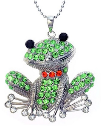 Crystal Green Happy Frog Pendant Necklace
