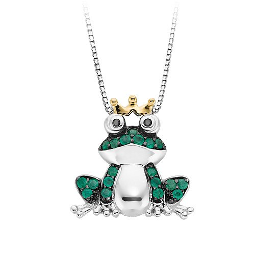 Sterling Silver Sparkly Frog Pendant for Kids Frog Necklace