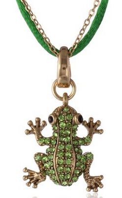 Pave Frog Pendant Necklace, 21""