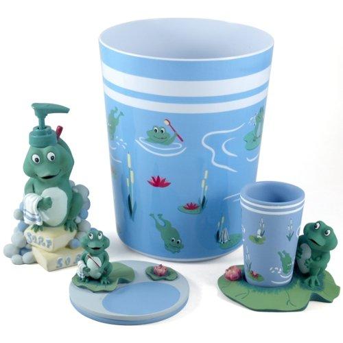 Froggy 4 Piece Bathroom Accessory Set. Cutest Frog Bathroom Decor