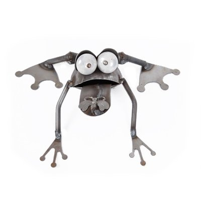 Funny Metal Frog with Fly Figurine