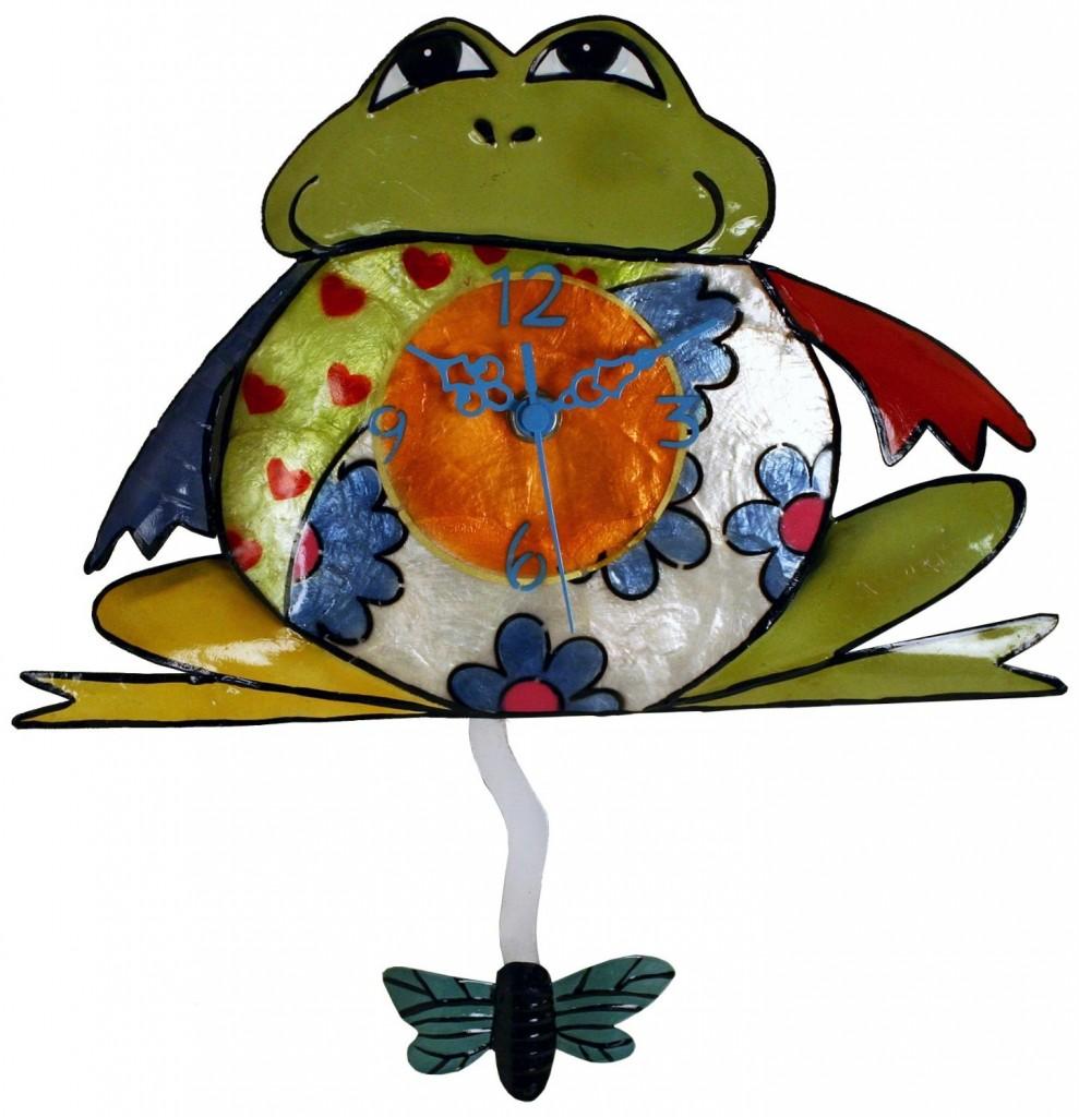 Metal Frog Clock with Fly Pendulum