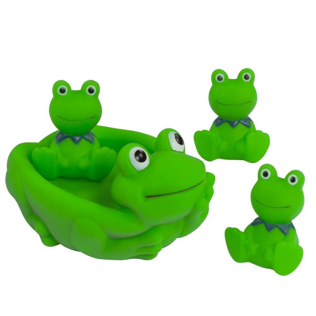 Frog bathroom set - 4 Piece Rubber Frogs Set