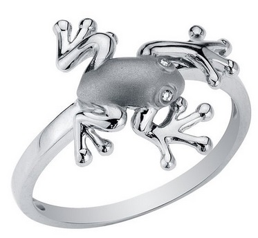 Sterling Silver Frog Rind with Diamond Eyes