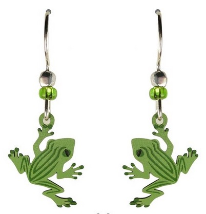 Striped Frog Charm Earrings