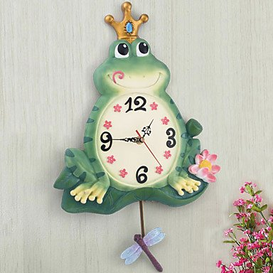 Cute Frog Theme Polyresin Wall Clock