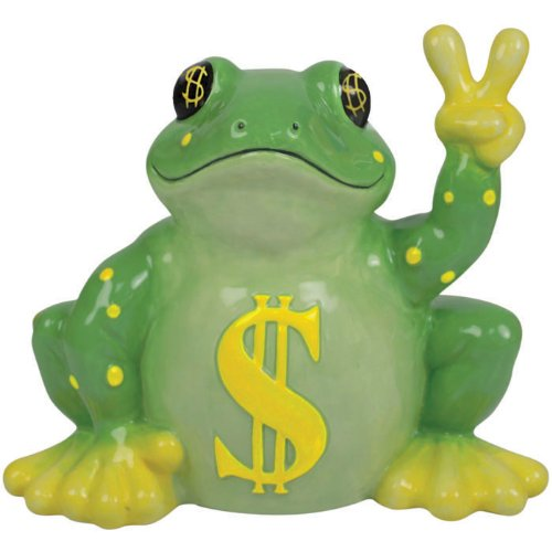 Cool Ceramic Frog Piggy Bank with Dollar Signs