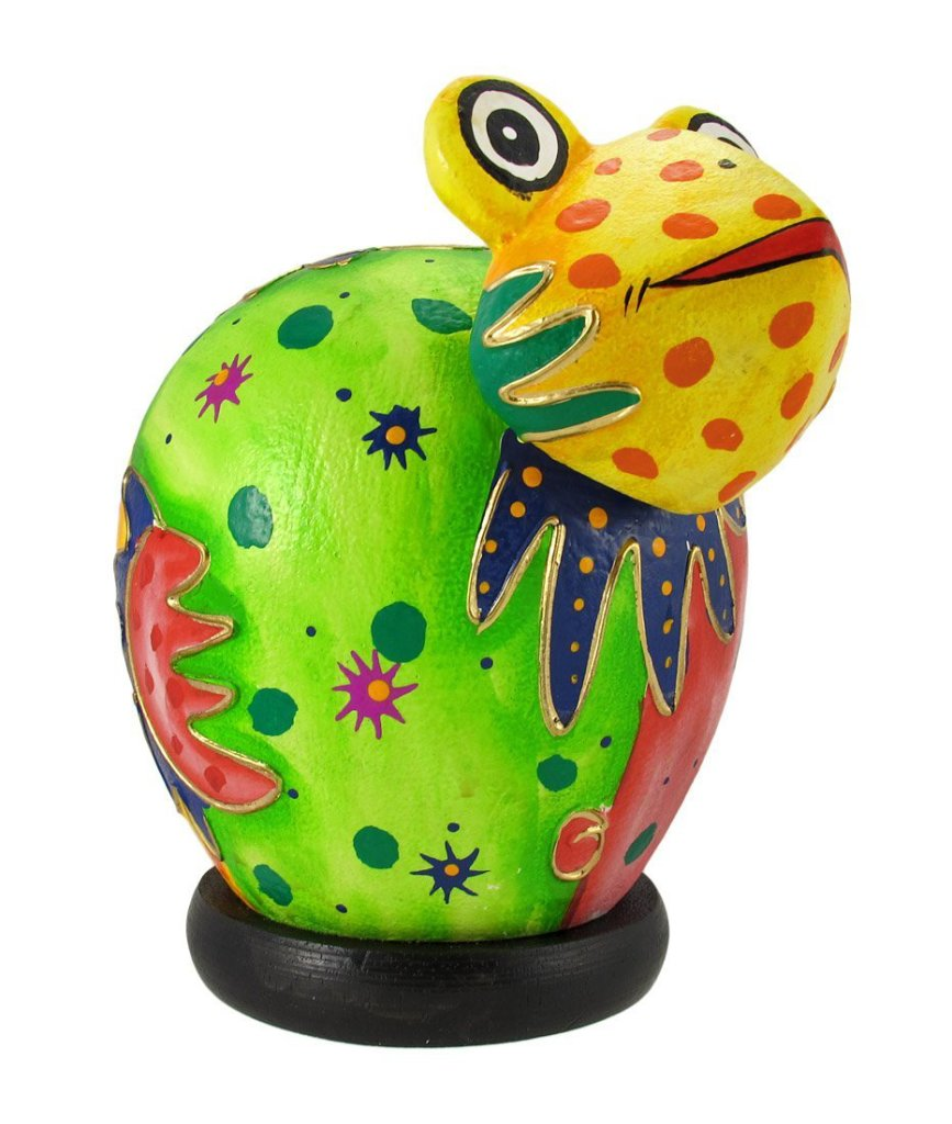 Colorful Handcrafted Wooden Frog Coin Box