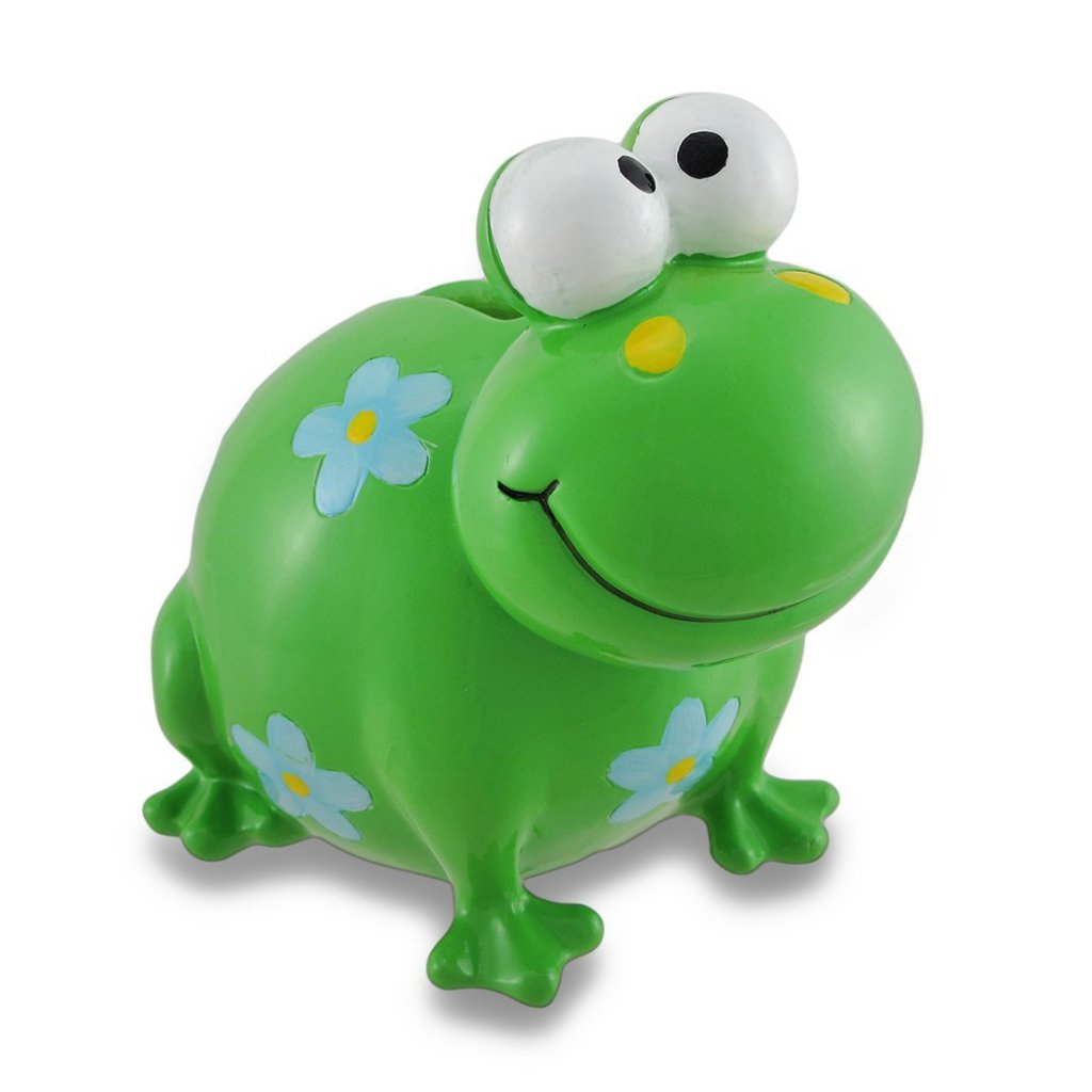 Green Frog Money Piggy Bank with Flowers