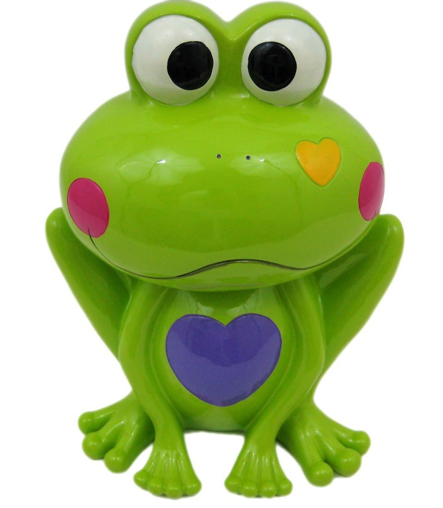 Adorable Green Frog with Hearts Money Bank