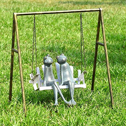 Cute Frogs On Porch Swing Garden Statue