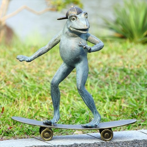 Fun Skateboarding Frog Garden Sculpture