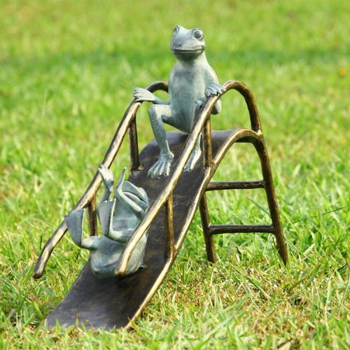 Delightful Cute Sliding Frogs Garden Statue