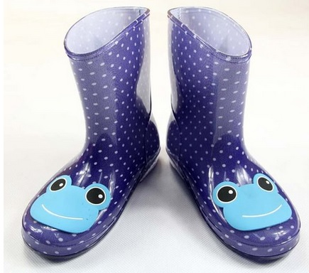 Cute Blue Frog Rain Boots for Toddlers