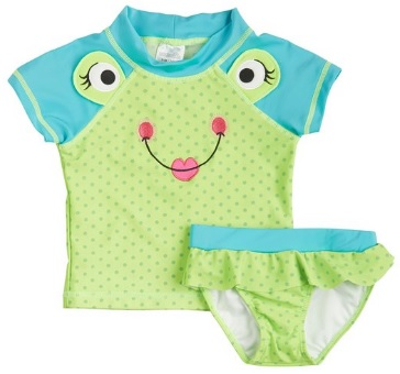 Toddler Girls Frog Rashguard Swimsuit