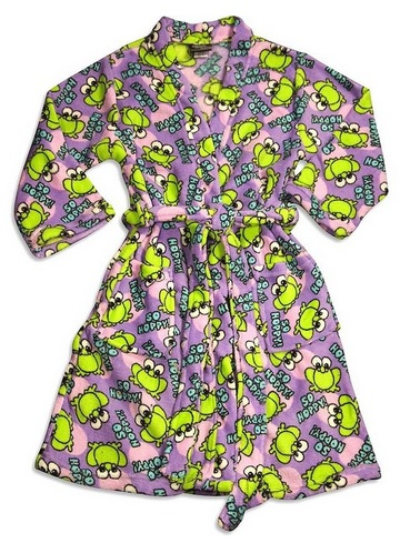 Fun Frogs Print Robe for Girls