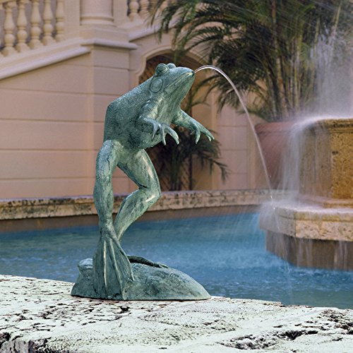 Jumping, Spitting, Leaping Frog Bronze Garden Statue