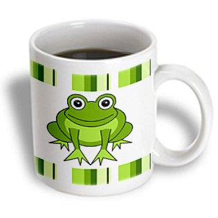 Cute Happy Green Frog with Stripes Mug