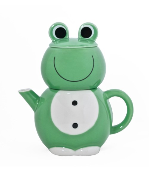 Cute Green Frog Teapot and Mug Set with Tea Strainer