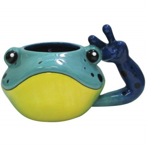 Blue and Yellow Spotted Frog Head Coffee Mug with Peace Sign Handle