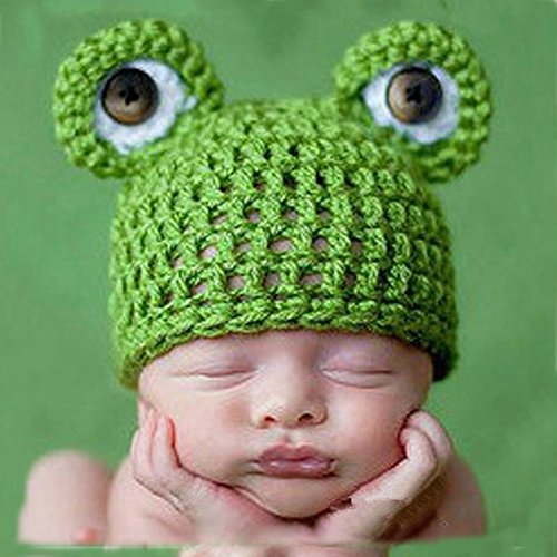 Adorable Handmade Crochet Knit Frog Hat for Babies