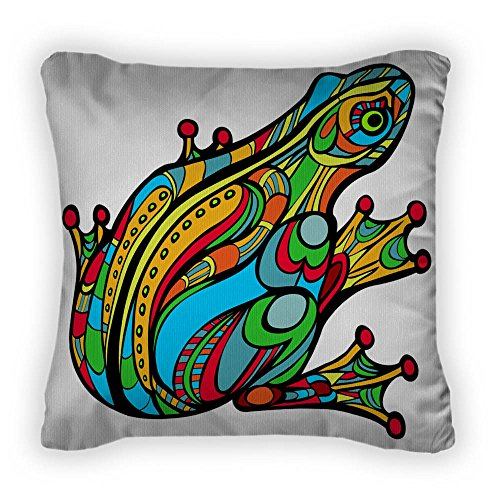 Colorful Frog Throw Pillow With Removable Cover