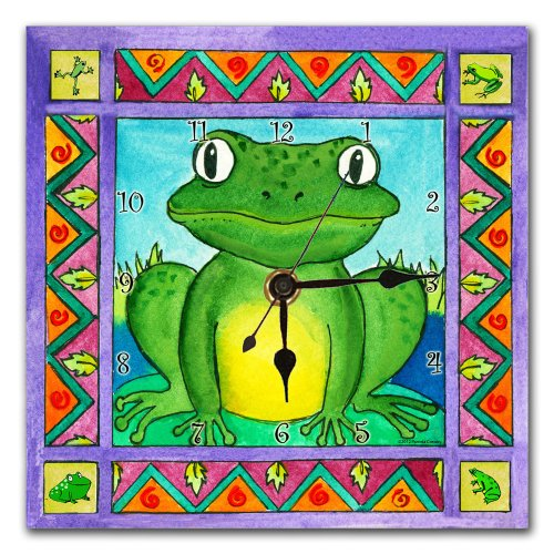 Colorful Cartoon Frog Wall Clock for Kids