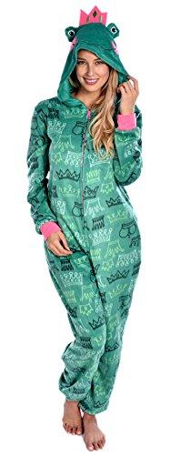 Fun Green Frog Princess Hooded Onesie Pajamas