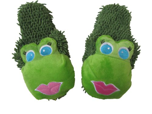 Cozy Critters Green Frog Slippers for Girls