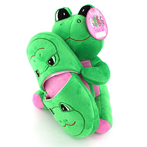 Adorable Green Plush Frog with Slippers