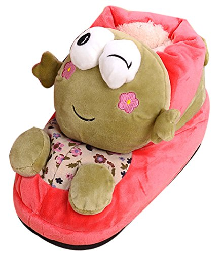 Adorable 3D Pink Frog Winter Warm Bedroom Slippers